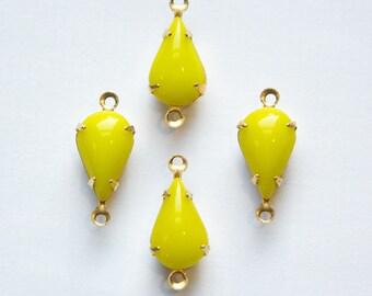 Vintage Opaque Yellow Glass Teardrop Stone in 2 Loop Brass Setting par003Z2