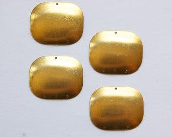 4 Hole Raw Brass Dapped Rectangle Connector Pendant (4) mtl174B