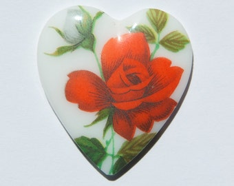 Vintage Large White Glass Heart with Red Rose cab558