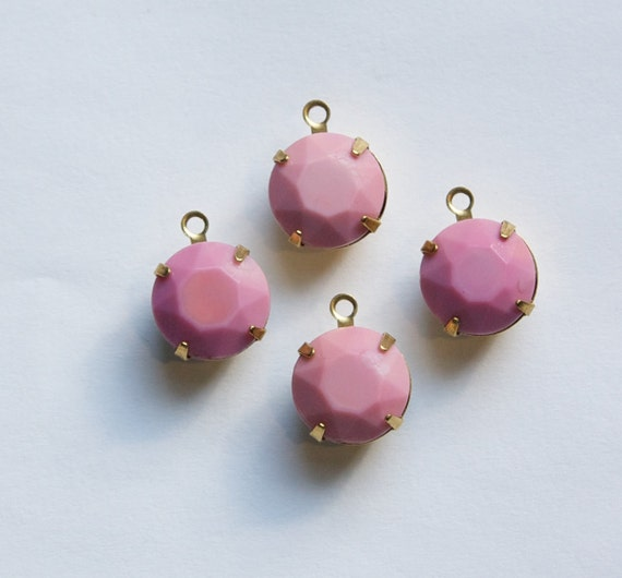 Vintage Opaque Pink Faceted Glass Stones 1 Loop Brass Settings 12mm rnd004Q