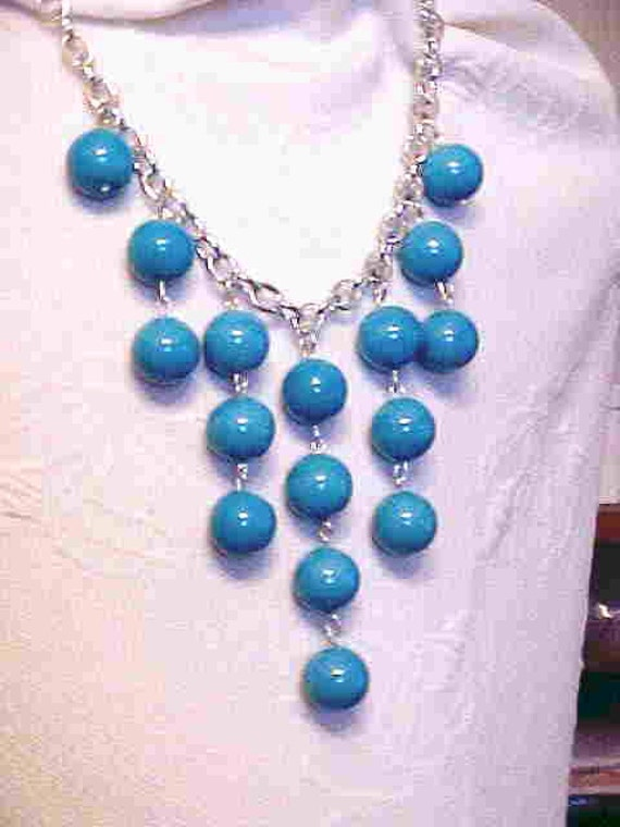 BIB Necklace,  ''ANTIQUE'', 16mm Blue Glass Beads--1940's Beads, Robins Egg Blue--Statement Piece with WoW Factor