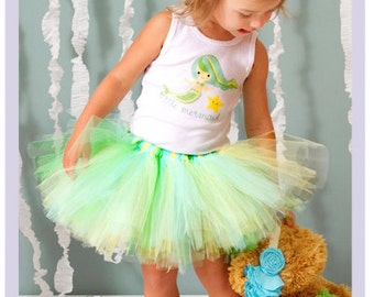 Little Mermaid Tutu Dress Toddler Tank Top Girls Mermaid Costume Green Mermaid Skirt 2T 3T 4T