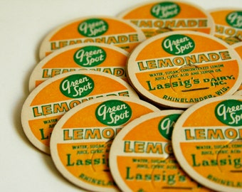 Vintage Bottle Tops - Lemonade -  Dairy -  Embellishment - Collectible - Ephemera
