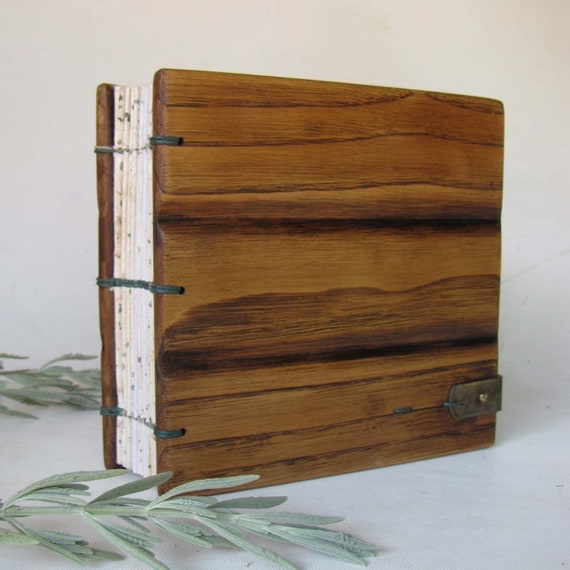 Diary blank journal guest book minimalist  wooden covers book
