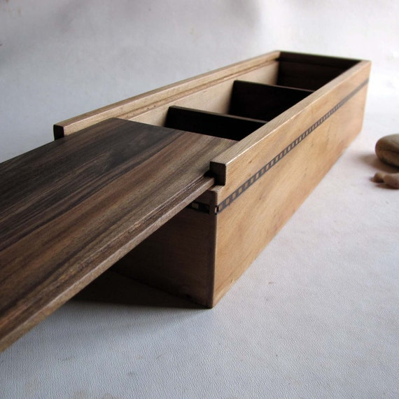 Sliding Wood Box : Wooden box three compartment reclaimed from furniture sliding