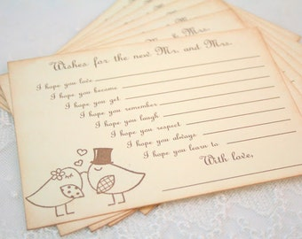 Guest book Alternative Wedding Wish Cards Fill in the Blank Wishes Set of 10 Bird Couple