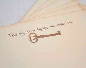 Wedding Wish Cards Wishing Cards Guest Book Alternative Key to Happy Marriage