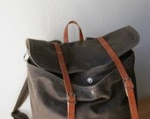 Waxed Canvas Backpack // Rucksack // Leather Straps // Organic Cotton Lining