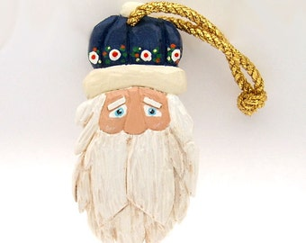 Handmade Carved Wood Santa Ornament