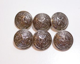 Silvertone Metal Buttons 7/8 inch diameter x 20 pieces, Scottish Highland Design, New Old Stock Silver Buttons