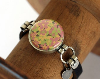 Teen Girl Jewelry, Teen Girl Bracelet, Modern Charm Bracelet, Magnetic, 3 Bracelets in 1, Cool Floral Designs in Bold Colors, Custom Leather