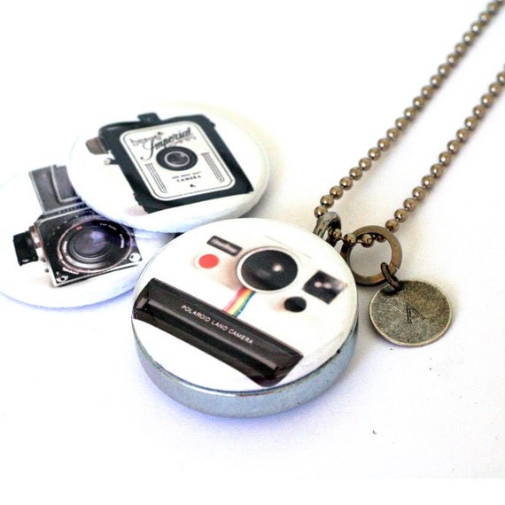 Vintage Cameras Locket Necklace - Polaroid Necklace - Magnetic Jewelry by Polarity - Raceytay Collection