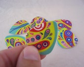 Guitar Picks (Set of 3)  Psychedelic Butterfly Heavy Weight Rigid Recycled