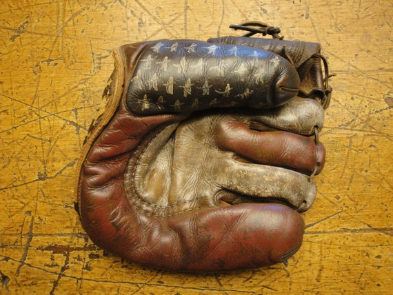 Handpainted Americana Stars And Stripes Old Baseball Glove