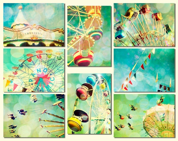 Nursery art, ferris wheel, wall art, baby, circus, carousel wall decor by bomobob Fun Set 8 5x7 Photos