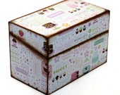 Wood Recipe Box Cute Cupcakes Pink and Brown Ready To Ship Fits 4x6 Recipe Cards