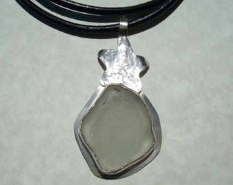 Sea Glass Starfish Bezel Neckllace- Seaglass Leather Sterling Silver Jewelry