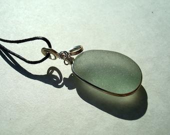 Sea Glass Bezel Necklace -Seafoam Seaglass -Sterling Silver Pendant