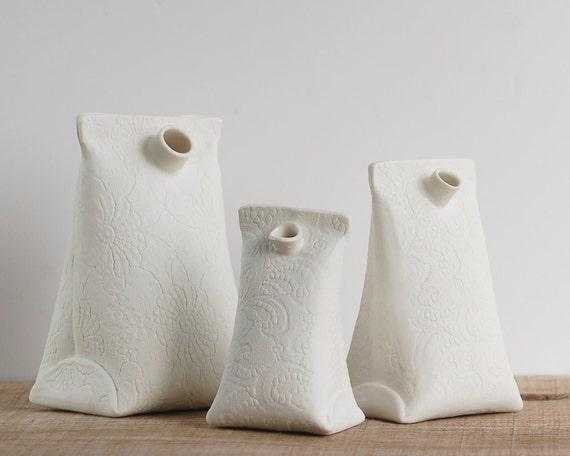 ceramic bud vase. porcelain mini vase. Artful Dodger Variations (Object N.3 small) by Wapa Studio.