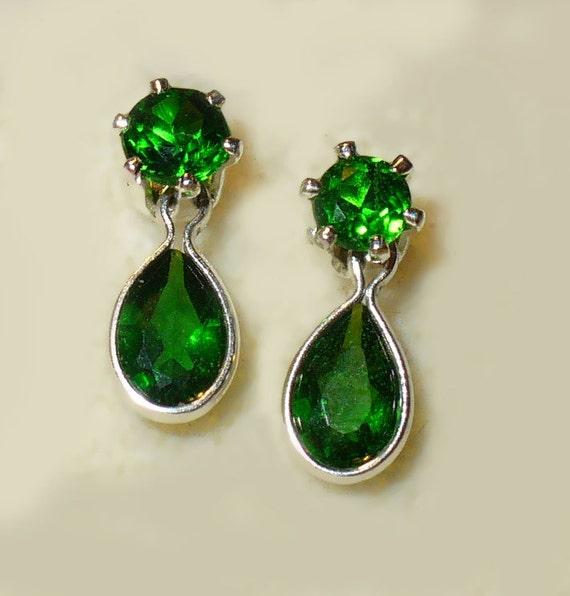 Chrome Diopside Sterling Earrings - Genuine Gemstones, Solid Silver
