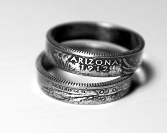 Handcrafted Ring made from a US Quarter - Arizona - Pick your size