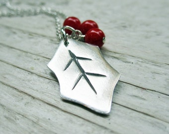 Holly Leaf Necklace - PMC Metal Clay, Sterling Silver, Red Coral Beads, Holiday, Christmas, Deck the Halls