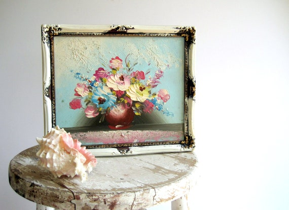 Vintage Oil Painting Shabby Chic / Spring Home Decor / Original Art