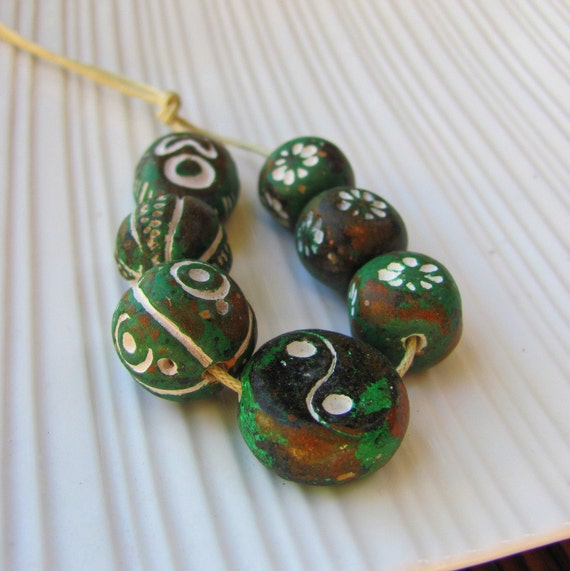 Ceramic African Beads - Green Collection
