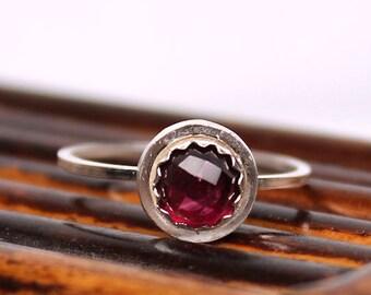 Garnet Ring, Rose Cut Garnet, Halo Ring, Sterling Silver Ring, Handmade Ring