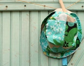 Kids Sun Hat 4T 5T 6 7 8 Years - Kelly Egg Blue Floral Patchwork Bucket Cap with Bright Flowers - Ready to Ship - worthygoods