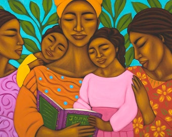 Family Reading Together Ethnic Print of Folk Art Original Painting By Tamara Adams