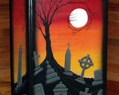 "Lg. 13""X9""X3-1/2"" Hand Painted Halloween Graveyard Scene Book Keepsake Box-Halloween Decor-Home Decor-Storage Box-Graveyard-"