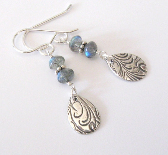 Fine Silver Teardrop Earrings, Labradorite Rondelles, Sterling Silver Hooks
