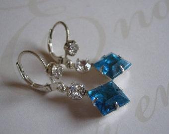 Aqua and Swarovski Crystal Rhinestone Dangle Earrings