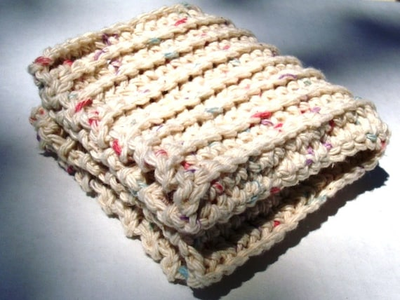 Dishcloth Facecloth or Washcloth Crocheted in Ivory 100% Cotton with Color Speckles Spa Cloth