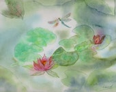Watercolor Painting, Green, Water Garden, Water Lily Painting, Water Lillies, Dragonfly Art, Lily Art Print Titled Water Garden Serenity
