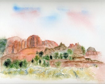 Watercolor Painting 8x10 Southwest Art, Southwest Painting, Southwestern Art, Southwestern Painting, Desert Art, Print Titled Holy Ground