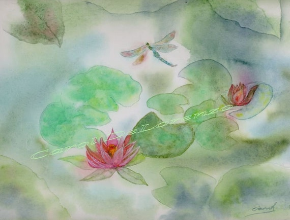Watercolor Painting Water Garden, Water Lily Painting, Water Lillies, Dragonfly Art, Lily Art Print Titled Water Garden Serenity