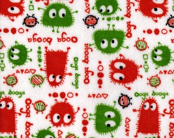 OOP CHRISTMAS Green and Red Ooga Booga on White Velour Stretch Knit Fabric, by the Yard