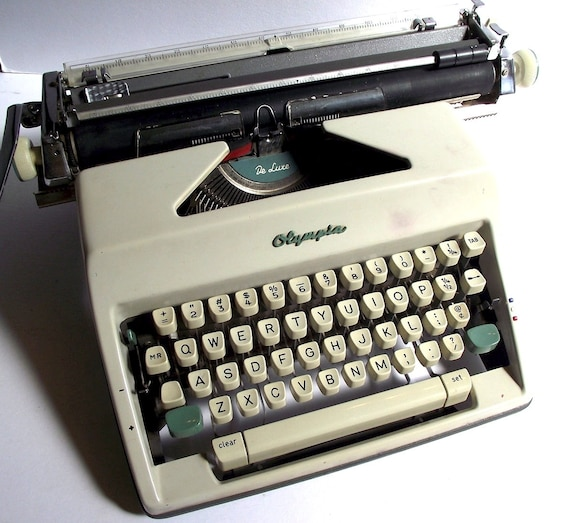 Vintage Olympia De Luxe 1960s Gray and Aqua Portable Typewriter in Case - Made in West Germany