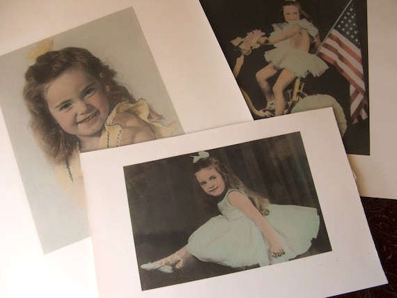 Vintage Tinted Photograph Portraits of Patriotic Little Girl