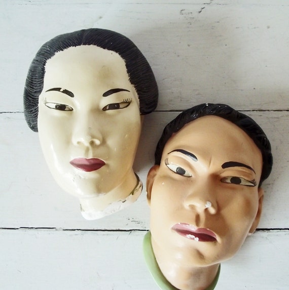 Vintage Asian Chalkware Head Plaques - Man and Woman