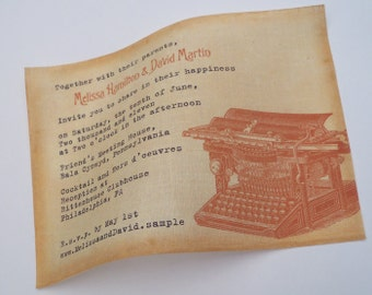 Literary Wedding Invitation with Vintage Typewriter, copper invitation on linen fabric, 25