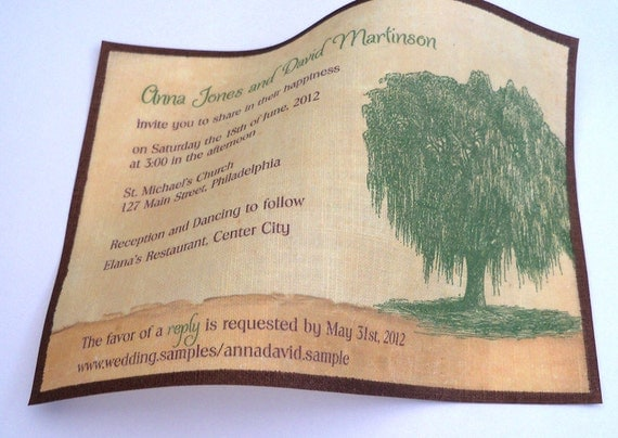 Willow Tree Wedding Invitation, green tree on linen fabric, country wedding invite {25}