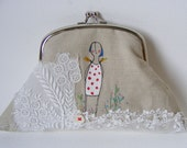 Handmade Purse or small Clutch .. Screen printed and hand embroidered
