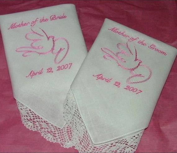 Custom Embroidered Wedding Hankies Handkerchiefs Mother of Groom Mother of Bride Gifts Bride Favors Set of 2