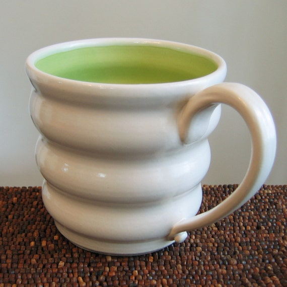 Huge Lime Green Beehive Mug 20 oz. Large Pottery Coffee Mug Stoneware