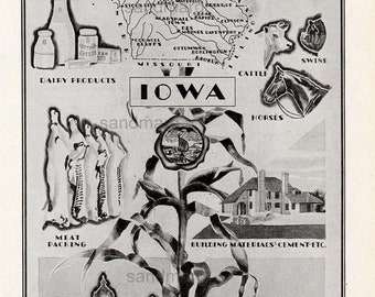 Iowa  Art Deco Style Map and Illustration of Industry Agriculture Farming Des Moines 1930s