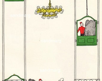 Vintage 1960s The Story of Babar The Little Elephant  Babar Uses the Department Store Elevator Print to Frame