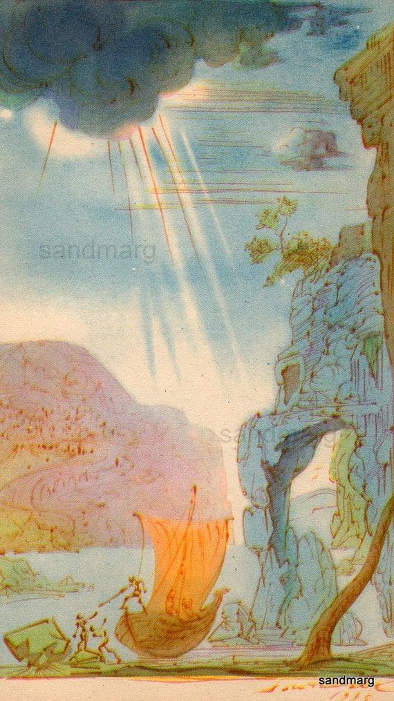 1945 Salvador Dali Illustration Sailing Ship After The Storm
